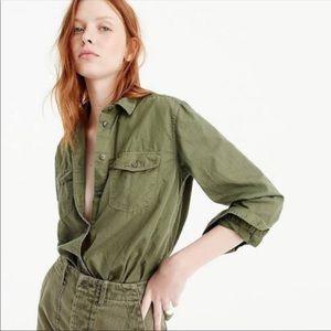 J.Crew army green utility button down shirt XS